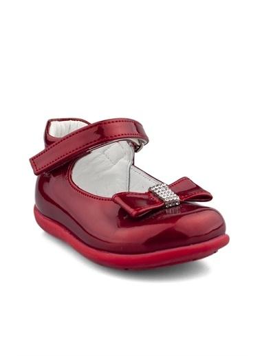Cici Bebe Ayakkabı Cicibebe Deri Kurdele Tokalı Ve Taşlı Cırtcırtlı Arkası Kapalı Rugan Kız Çocuk Babet Kırmızı